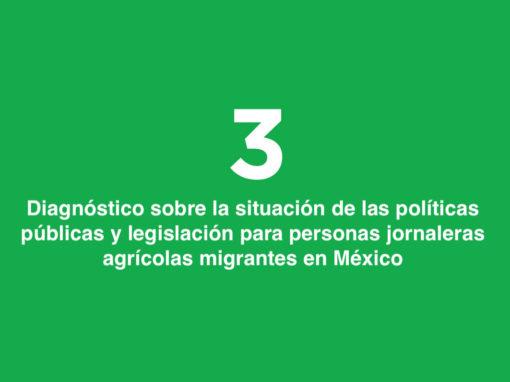 Diagnóstico sobre la situación de las políticas públicas y legislación para personas jornaleras agrícolas migrantes en México