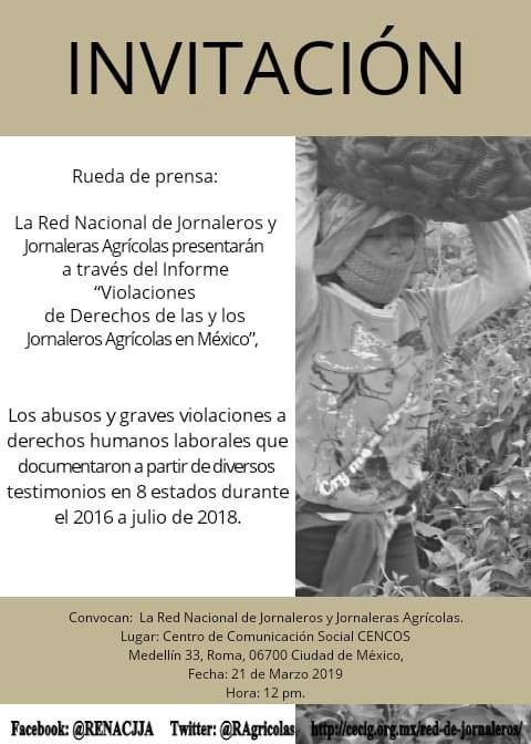 """Informe """"Violaciones de Derechos de las y los Jornaleros Agrícolas en México"""""""